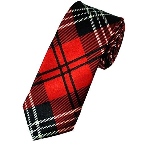 Corbata Roja Cuadros Tartán Fina Nueva - tartán, única