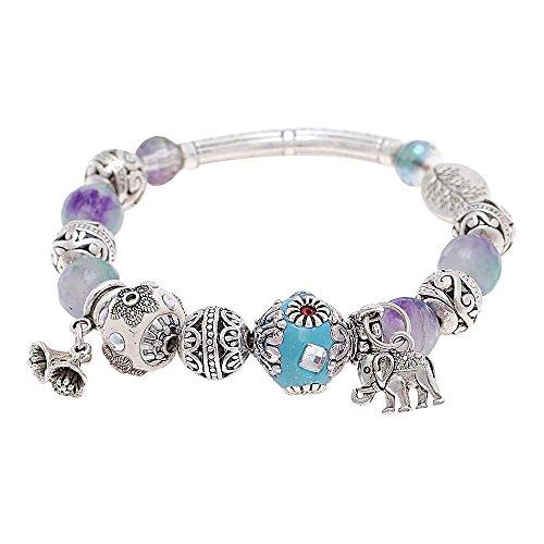 Chic-Net White Brass pulsera de perlas de colour turquesa de piedra de...