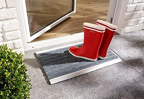 PANA® Aluminium Türmatte Fussmatte Schmutzfangmatte Fußabstreifer Abtreter für den Aussenbereich ca.39x60cm