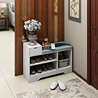 Hironpal White Hallway Shoe Storage Bench, 2-tire Storage Shelf Organizer with Coushion Seat, Wooden Shelf, for Entryway, Living Room and Hallway, 80 * 30 * 42cm