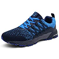 UBFEN Running Shoes Mens Womens Trainers Walking Athletic Breathable Outdoor Sneakers Sports Gym Jogging Fitness Casual Shoes 9.5 UK Blue