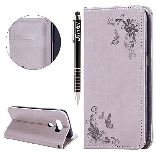 SainCat Coque Etui pour LG G5, LG G5 Coque Dragonne Portefeuille PU Cuir Etui, Coque de Protection en Cuir Folio Housse, SainCat PU Leather Case Wallet Flip Protective Cover Protector, Etui de Protect Deux côté Rose-gris