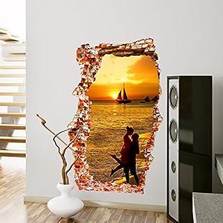 ALLDOLWEGE Einfach 3D-Sticker Tapete selbstklebende Schlafzimmer Wohnzimmer Wanddekoration Liebhaber Sonnenuntergang Yu Hui brick wall Poster, die Liebhaber von Sonnenuntergang Yu Hui Mauerwerk