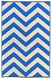 Fab Hab - Laguna - Regattablau & Weiß - Teppich/Matte für den Innen- und Außenbereich (90 cm x 150 cm)