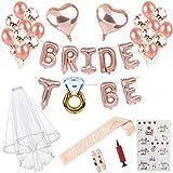 HESHIFENG. party & accessories Braut to Be Deko Accessoires für den Junggesellinnenabschied,Rose Gold Luftballons+Banner + Schärpe + weißer Schleier mit Kamm + 21 Tattoos für JGA Deko,Team Braut