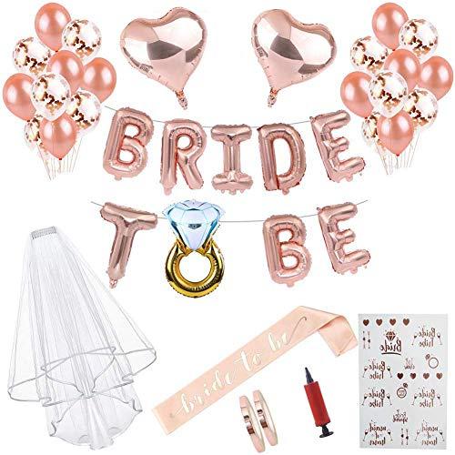 ccessories Braut to Be Deko Accessoires für den Junggesellinnenabschied,Rose Gold Luftballons+Banner + Schärpe + weißer Schleier mit Kamm + 21 Tattoos für JGA Deko,Team Braut ()