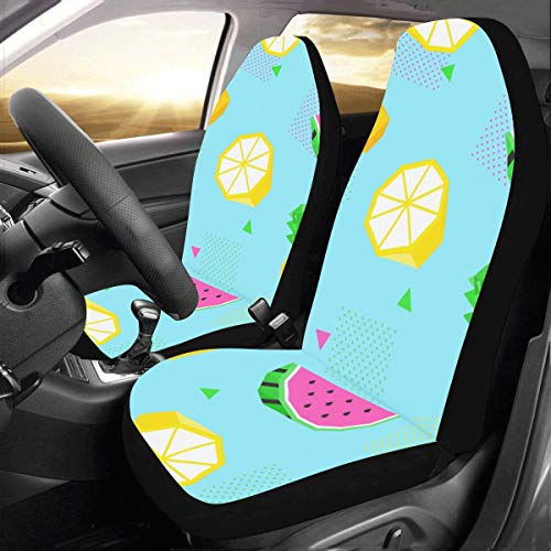 Rtosd Bright Summer Tropical Fruit Custom New Universal Fit Auto Drive Car Seat Covers Protector for Women Automobile Jeep Truck SUV Vehicle Full Set Accessories for Adult Baby (Set of 2 Front) (Covers Seat Custom Chevy)
