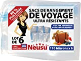 Neusu Sacs De Voyage Sous Vide Avec Valves – Plastique Ultra-Résistant 110 Microns - Pack De 6 (Assortiment: 3 x L, 3 x XL)