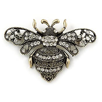 Avalaya Vintage Inspired Crystal Bumble Bee Brooch In Aged Gold Tone - 60mm 0