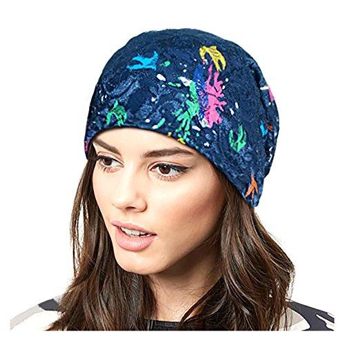Lamdgbway Blumen Spitze Turban Hüte Slouchy Strecken Chemo Kopfbedeckung Mütze Malen Saphir
