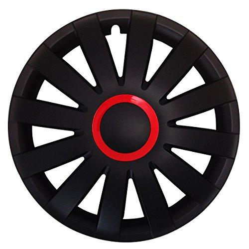 Autoteppich Stylers (Größe & Farbe wählbar) 15 Zoll Radkappen Race (Rot) passend für Fast alle Fahrzeugtypen - universal -