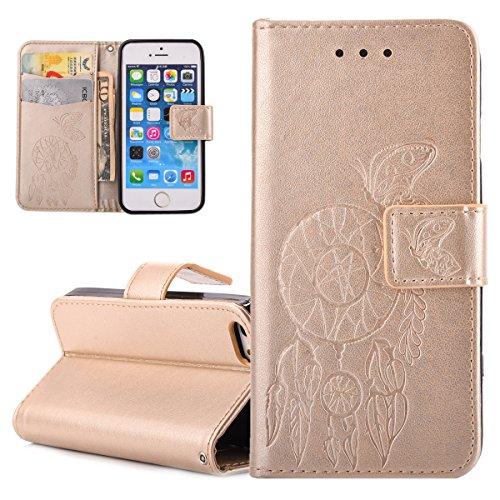 Custodia iPhone SE, ISAKEN Custodia iPhone 5S, Cover iPhone 5 Flip Case, Elegante borsa Custodia in Pelle Protettiva Portafoglio Case Cover per Apple iPhone 5 5S SE / con Supporto di Stand / Carte Slo Dreamcatcher: gold