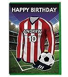personalisierbar Fußball Mottoparty Geburtstag Karte, für-Dad-Mann-Sohn, Tochter, Mama-Sheffield United Farben