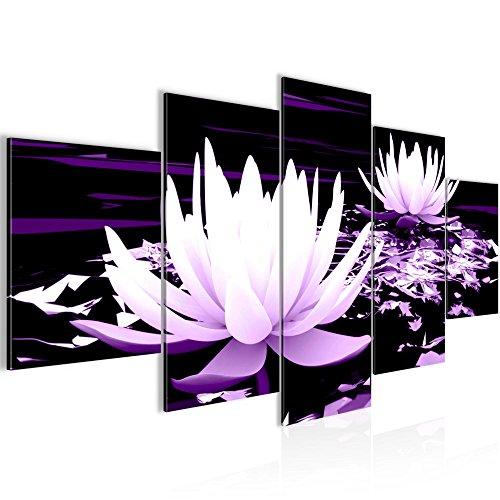 Photo Fleurs de lotus Décoration Murale 200 x 100 cm Toison - Toile Taille XXL Salon Appartement Décoration Photos d'art Violet 5 Parties - 100% MADE IN GERMANY - prêt à accrocher 203351b