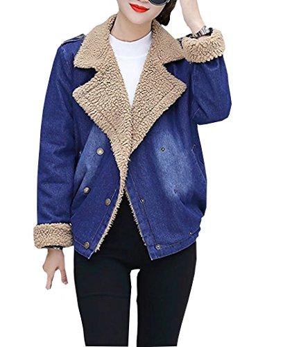 Belted Denim Mantel (Damen Warm Winterjacke Herbstjacke Modisch Jeansjacke Revers Fleece Gefüttert Steppjacke Felljacke Denim Coat Kurzjacke Mantel Übergangsjacke)