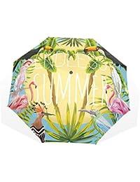 GUKENQ - Paraguas de Verano con diseño de flamencos y pájaros de tucán, Ligero,