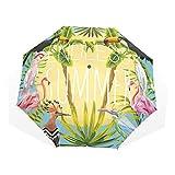 GUKENQ - Paraguas de Verano con diseño de flamencos y pájaros de tucán, Ligero, antirayos UV, para Hombres, Mujeres y niños, Resistente al Viento, Plegable, Paraguas Compacto