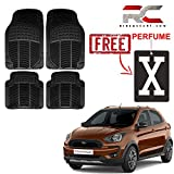 #7: Riderscart Car Mat for Ford Freestyle eavy Duty Rubber Floor Mats with Hot Selling Gifts X Symbol Design Car Air Freshener Hanging Combo