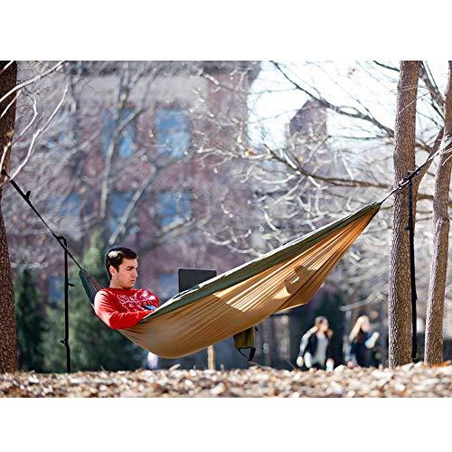 NatureFun Ultraleichte Camping Hängematte / 300kg Tragfähigkeit, Atmungsaktiv, schnell trocknende Fallschirm Nylon / Enthalten 2 x Premium Karabinerhaken 2x Nylonschlingen / Fürs Freie oder einen Innengarten - 5