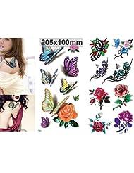 NOVAGO 2 Planches de 20 x10 cm de Tatouages éphémères motifs Papillons et Fleurs