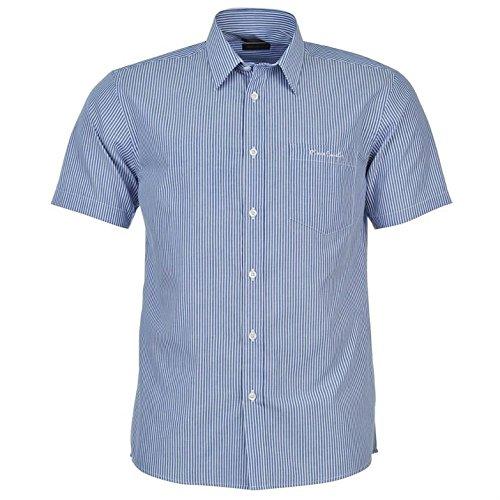 Pierre Cardin–Camicia da uomo a maniche corte con fantasia e chiusura a bottone Blau/Weiss Streifen XXXL