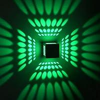 Gweat® Moderna applique da parete 3W LED con la versione luce diffusa in alluminio spazzolato Cubic (verde)