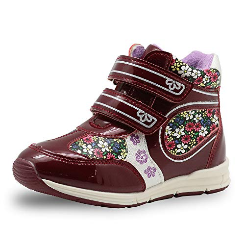 CX ECO Mode High-Top Sneakers Kinder Freizeit Sportschuhe Mädchen Klettverschluss Baumwolle Boot Klassische Lässig Leichter Reißverschluss Atmungsaktiv Weich,Red,28.5EUR - Red-high-top-sneakers Mädchen