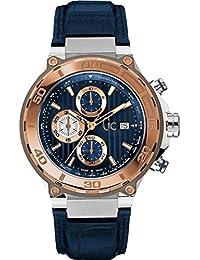 Guess Collection Bold Homme Bracelet Cuir Bleu Boitier Acier Inoxydable  Saphire Quartz Montre X56011G7S bbd96035ed0
