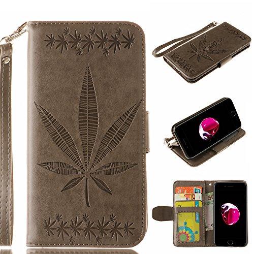 Ooboom® iPhone 8/iPhone 7 Hülle Ahornblatt Muster Flip PU Leder Schutzhülle Handy Tasche Case Cover Wallet Standfunktion für iPhone 8/iPhone 7 - Weiß Grau