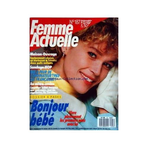 FEMME ACTUELLE [No 187] du 25/04/1988 - MAISON ET OUVRAGE - TRICOTS POUR ENFANTS - QUI A PEUR DE L'ORDINATEUR - LES MICRO-ONDES / CUISINE - BONJOUR BEBE
