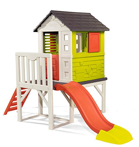 Placed on a 70cm platform and with a ladder and slide, this playhouse is designed to meet a variety of needs. Perfect for kids to have fun and imagination with their friends.