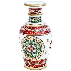 Handicrafts Paradise Gold Embossed Marble Flower Vase (7.65 cm x 7.65 cm x 15.3 cm),Multicolor