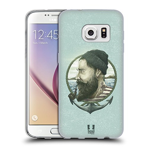 Head Case Designs Seemann Männliche Hipsters Soft Gel Hülle für Samsung Galaxy S7