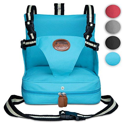 KIDUKU® Trona portátil de bebés, cojín elevador para viaje, asiento portátil para niños Turquesa...