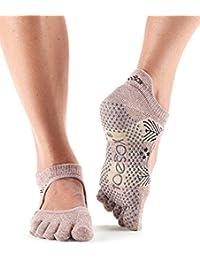 ToeSox Bella 1Paire de chaussettes de yoga en coton bio - orteils couverts - ouverture sur le devant Pour femme