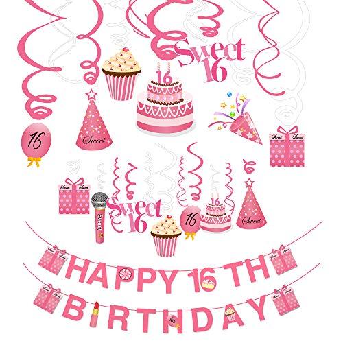 Howaf 16 Geburtstag Dekoration, 16. Geburtstag Happy Birthday Banner und 16. Geburtstags Swirl Hängedekoration Folienspiralen Girlanden Geburtstag Party Deko mädchen