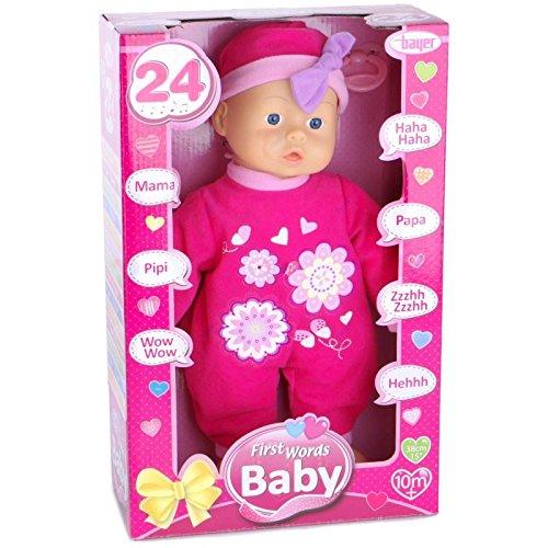 Bayer Design 9336300 - Funktionspuppe First Words Baby mit 24 Lauten, 33 cm, Rosa Preisvergleich