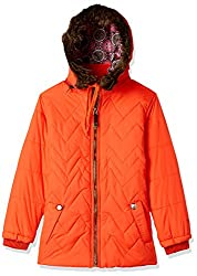 Fort Collins Girls Regular Fit Synthetic Jacket (10253_Orange_30 (10 - 11 years))