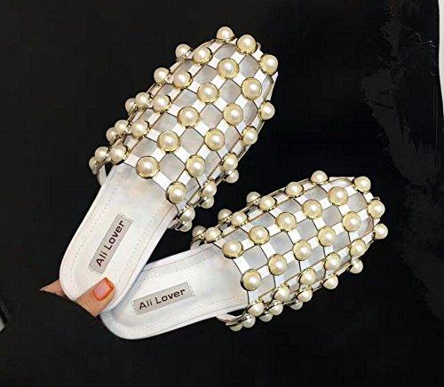 Glänzende Strass Pantoffeln Baotou höhlen Rom Schuhe flach mit flachen Sandalen und Pantoffeln White
