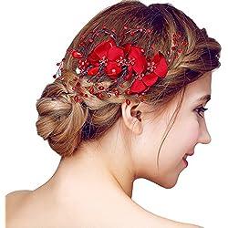 YAZILIND Tocado Belleza de la Mujer Nupcial de la Boda Broche de Pelo de Fiesta Rojo Rhinestones Flor de aleación de Las Mujeres Accesorios de Pelo