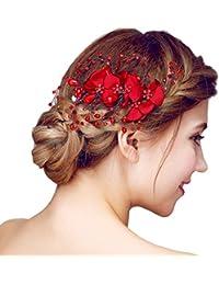 YAZILIND tocado belleza de la mujer nupcial de la boda broche de pelo de fiesta rojo rhinestones flor de aleaci¨®n de las mujeres accesorios de pelo