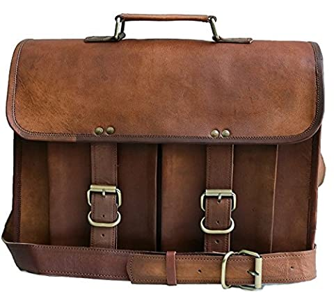 Jaald Leather Messenger Satchel Shoulder Laptop Bags for Men and Women 13 15 ... (Brown Leather Messenger Bag)
