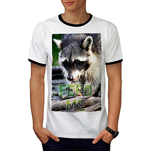 Futter Mich Waschbär Tier Niedlich Gesicht Herren L Ringer T-shirt | Wellcoda