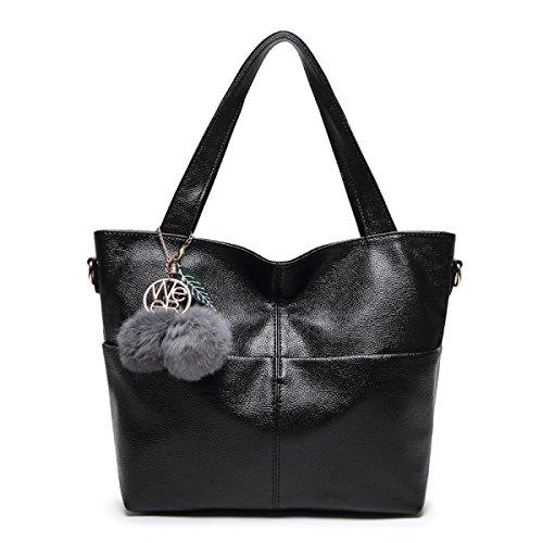 PDFGO Handtaschen Handtaschen Casual Big Bags Einfache Schultertasche Messenger Bag Tide PU Tasche Tote Bag Black