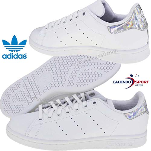 adidas Unisex-Kinder Stan Smith Sneaker, Weiß Footwear White/Core Black 0, 38 2/3 EU