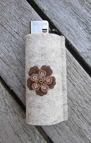zigbaxx Feuerzeug-Hülle FLOWER, Feuerzeughülle aus Woll-Filz mit Blume - für BIC Feuerzeuge und div. Einwegfeuerzeuge - Geschenk Geburtstag Weihnachten (Strass-feuerzeug-hülle)