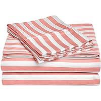 Superior - Set di lenzuola Cabana, 152 x 203 cm, resistenti alle grinze, a 600 fili a righe, cotone misto, rosa, 4 pezzi