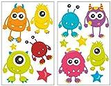 Samunshi Mignon 13 pièces Monster Sticker mural pour chambre de Chambre de bébé, 2x 16x26cm