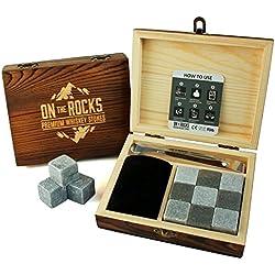 OnTheRocks - 9 Pierres à Whisky avec Pinces et Pochette en Velours - Coffret Cadeau en Bois Fait à la Main