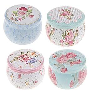 Baoblaze Set de 4pcs Boîte de Rangement Avec Couvercle Pour Thé Bonbons Café Norriture Canister Boxes